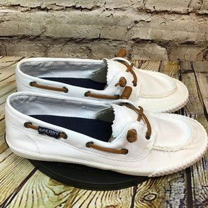 Sperry Moc Toe Canvas Boat Shoes Womens Size 8